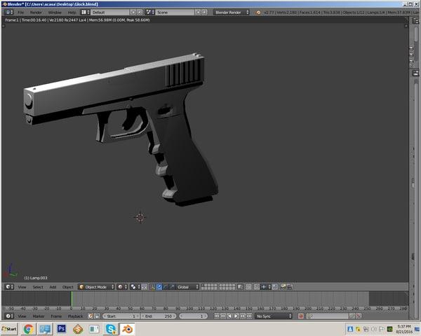 3d glock 17 rigged model