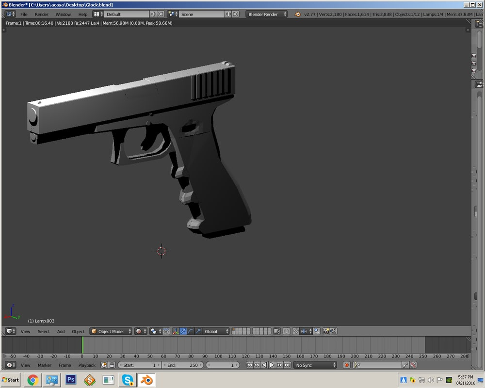 3d glock 17 rigged model