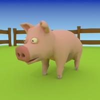 cartoon pig 3d model