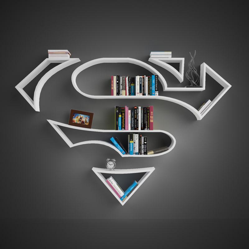 book shelves superman 3d model