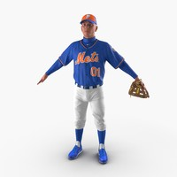 baseball player mets 3d max