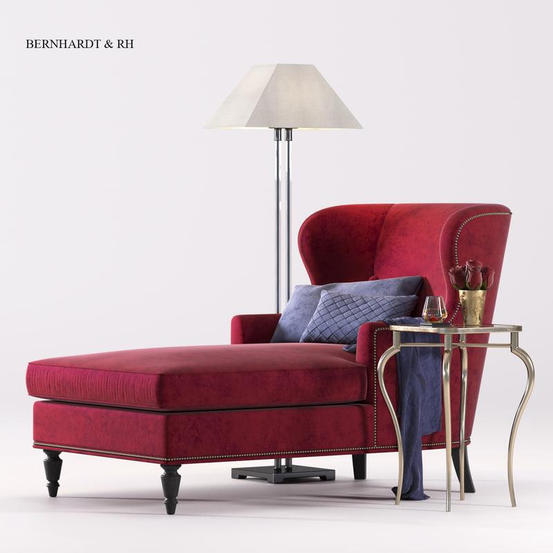bernhardt nadine chaise rh 3d max