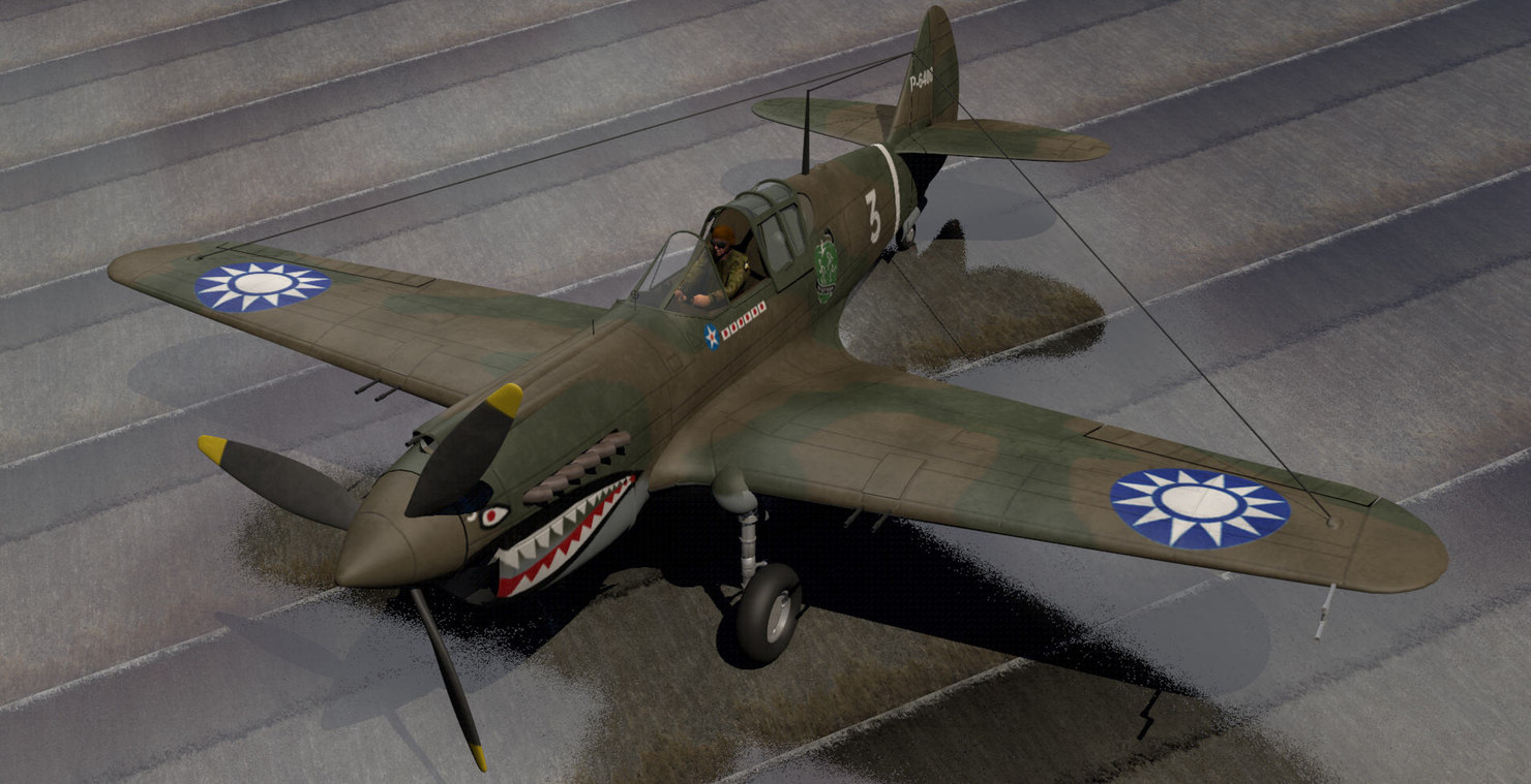 curtiss p-40b ft fighter 3d 3ds