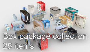 25 cardboard boxes 3d model