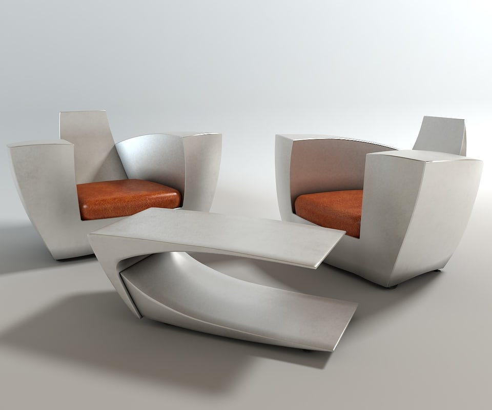 3d easy number chair table model