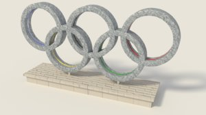 3d model low-poly olympics rings