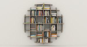 bookshelf books sphere 3d max