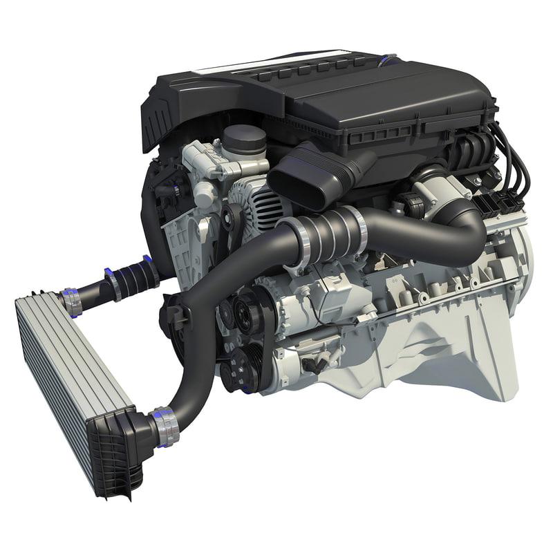 turbo straight six-cylinder petrol engine 3d c4d