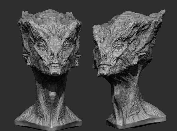 3d alien head model