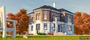 cottage houses 3d model