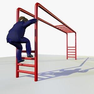 3d european girl climbing frame model