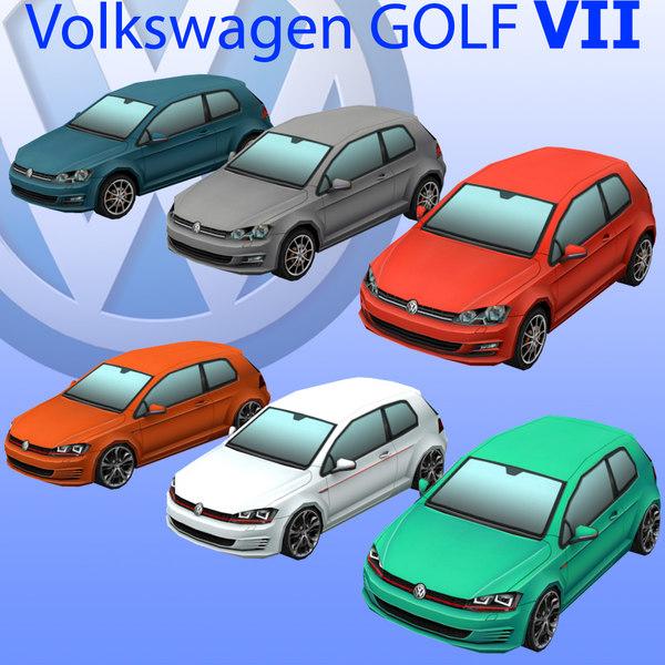 3d volkswagen golf car