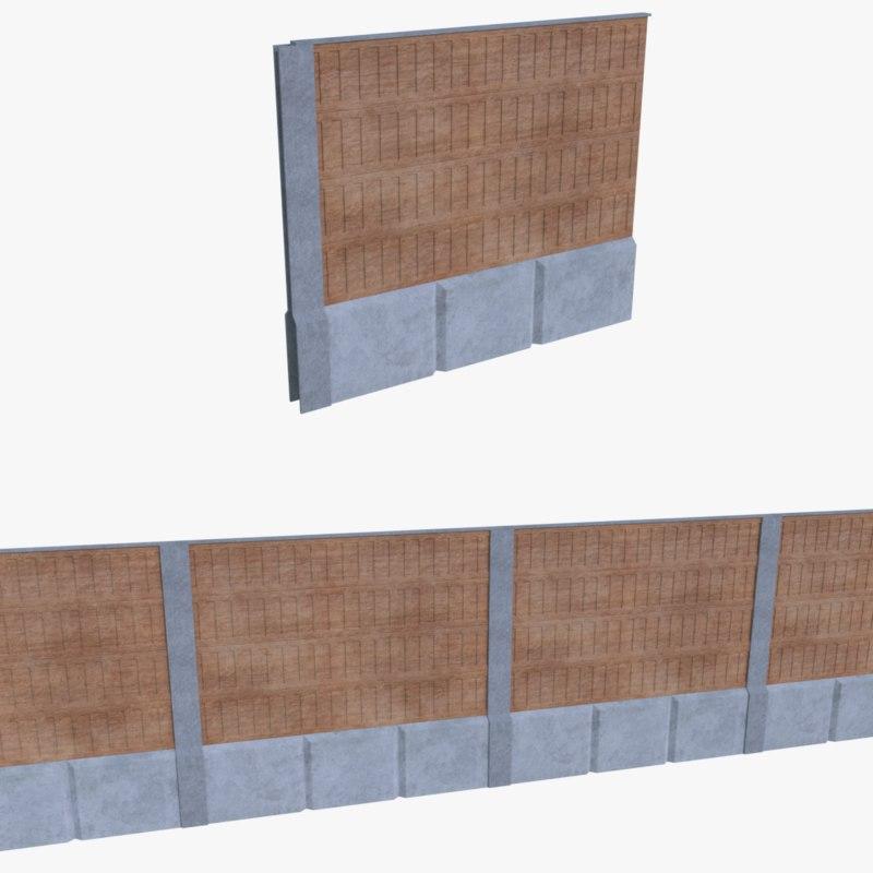subdivision noise barrier 3d model