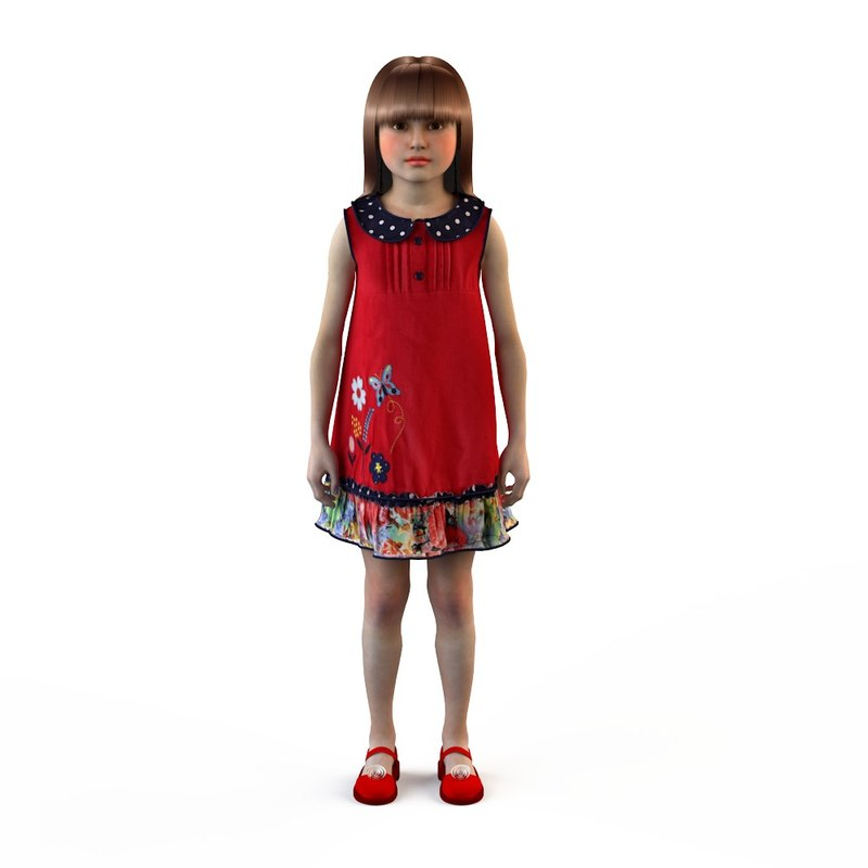 fashion baby dressed girls 3d model