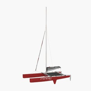 small sail catamaran 3d model