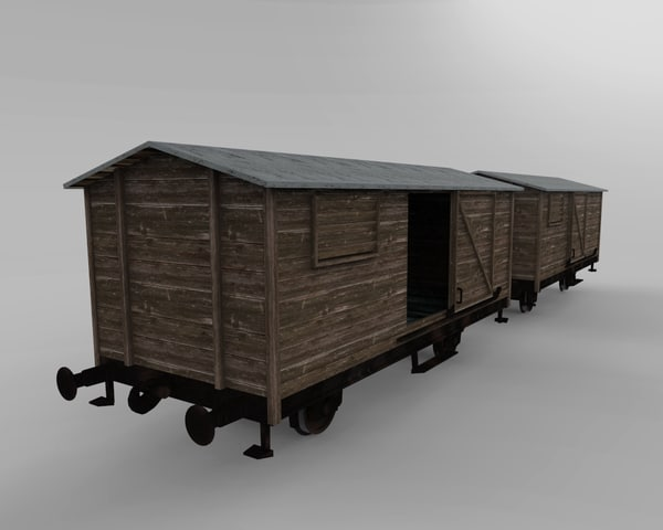 3d wooden train cars model