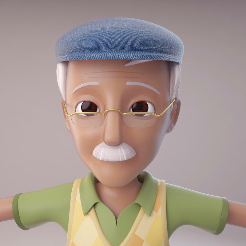 cartoon old man 3d max