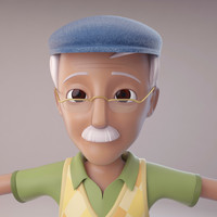 cartoon old man 3d max
