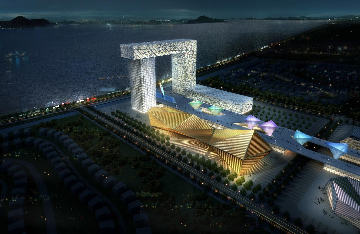 cityscape architectures road 3d model