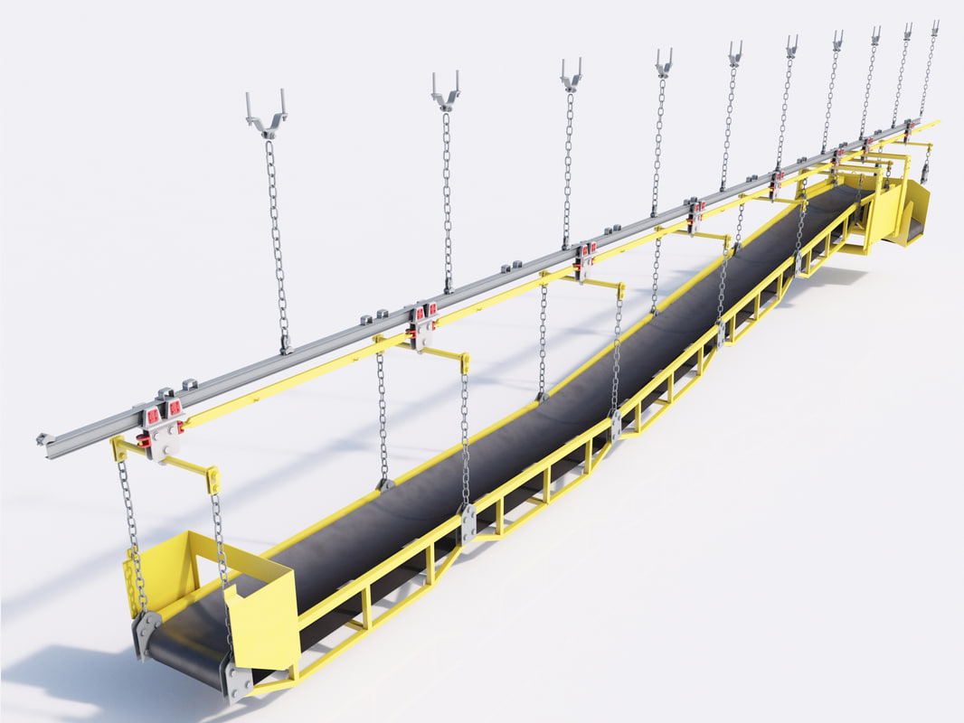 underground conveyor belt mining 3d model