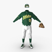 3d model of baseball player outfit athletics