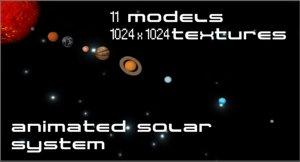 planets solar animation 3d model