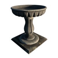 fluted bird bath 2k 3d 3ds