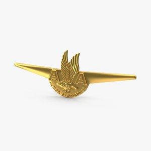 american airlines wings badge 3d max