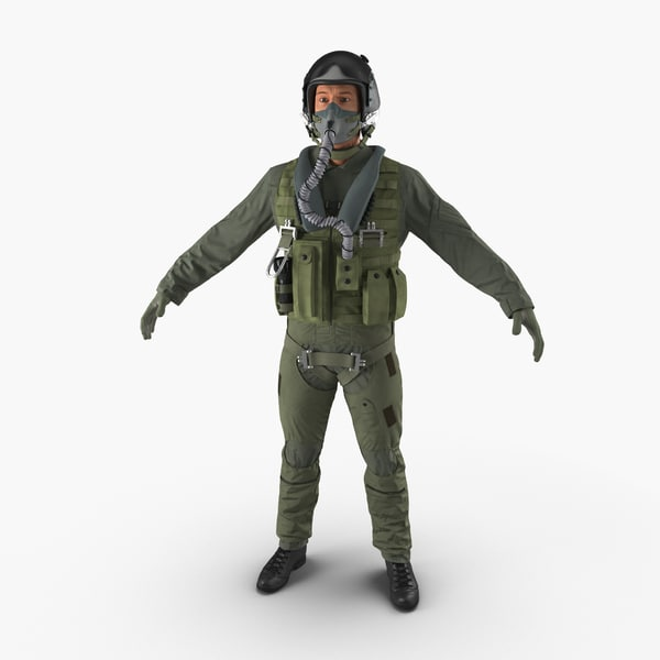 3d model of military jet fighter pilot