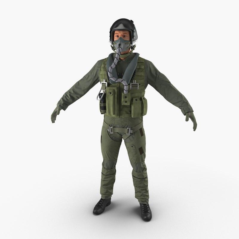 3d model of military jet fighter pilot