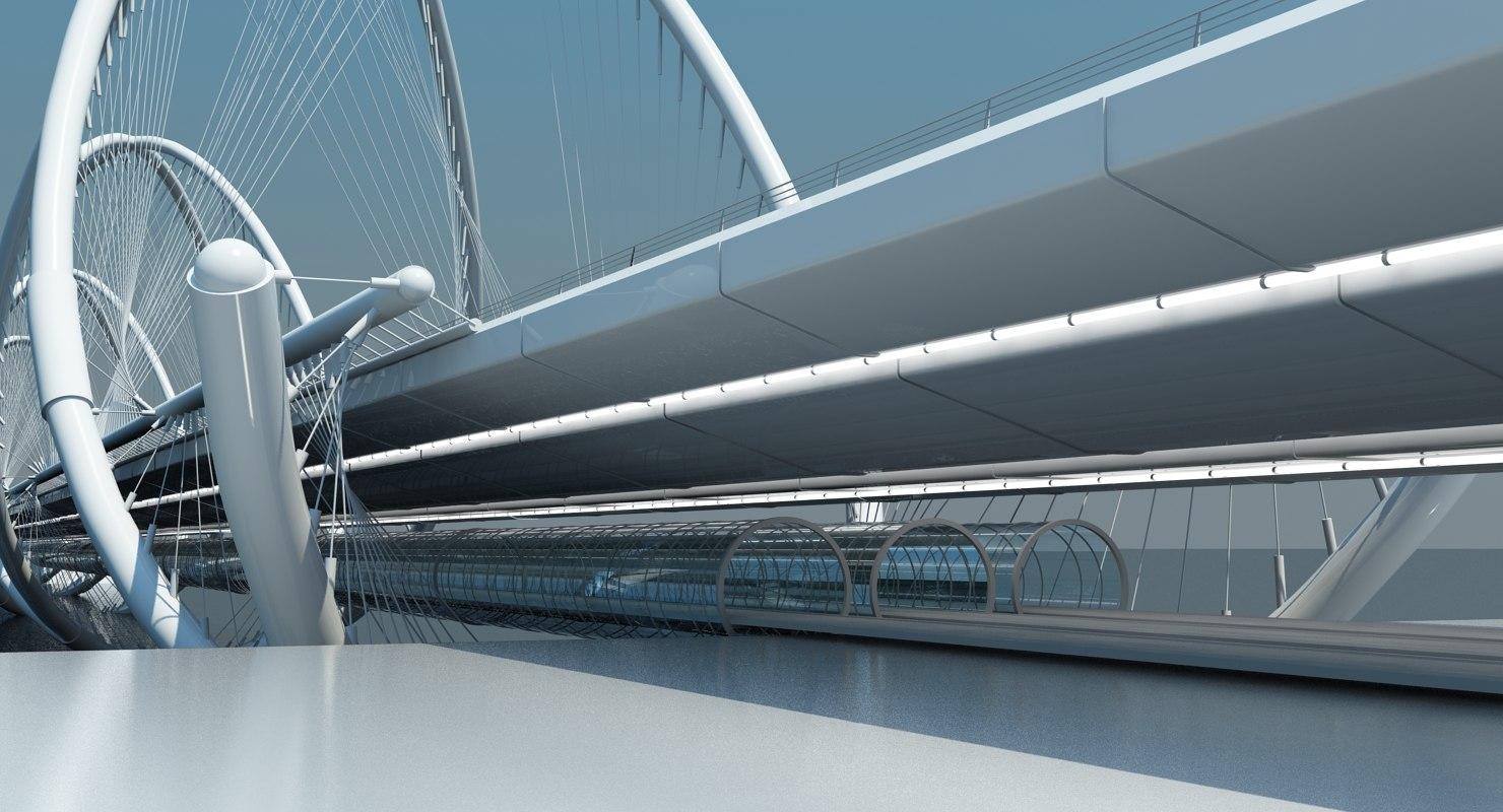 futuristic bridge 3d model