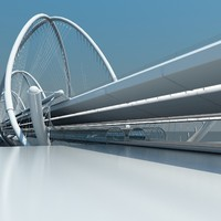 futuristic bridge 3d model