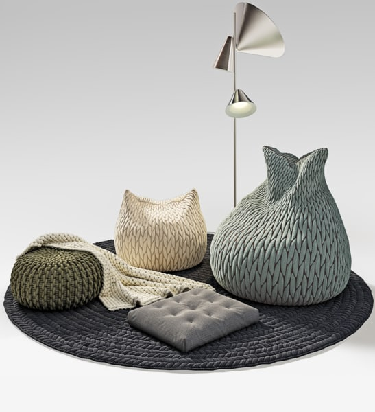3d model pouf knitted