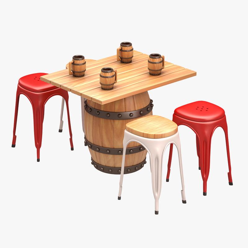 3d barrel set bar