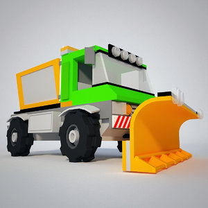 cartoon snow truck 3d model