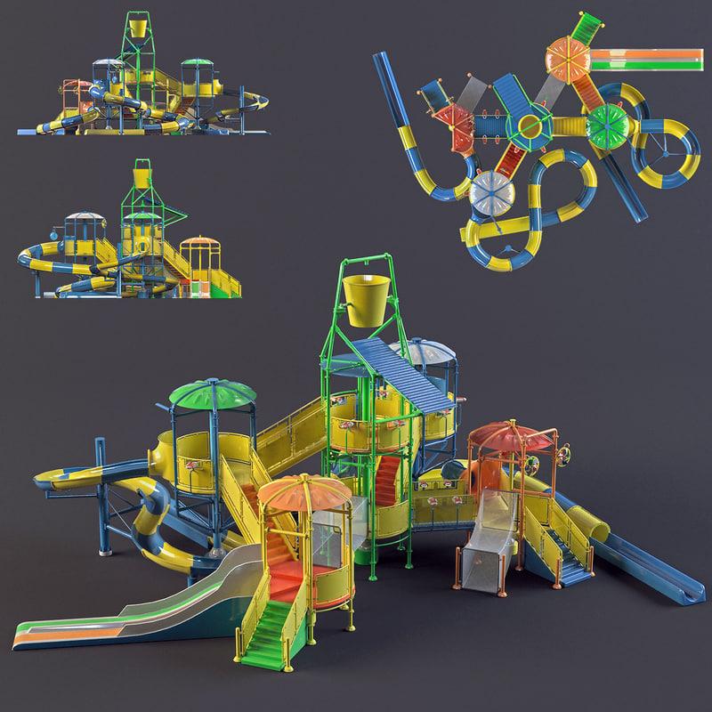 3d model water park slides