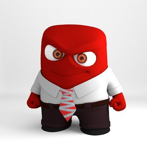 3d pixar character anger