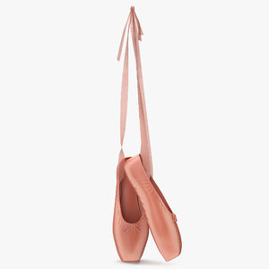 3d model hanging pink ballet shoes