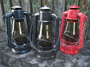 3ds old glass kerosene lamp