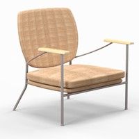 mid-century upholstered chair 3d model