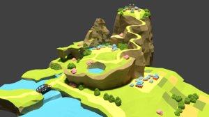 3d model landscape asian