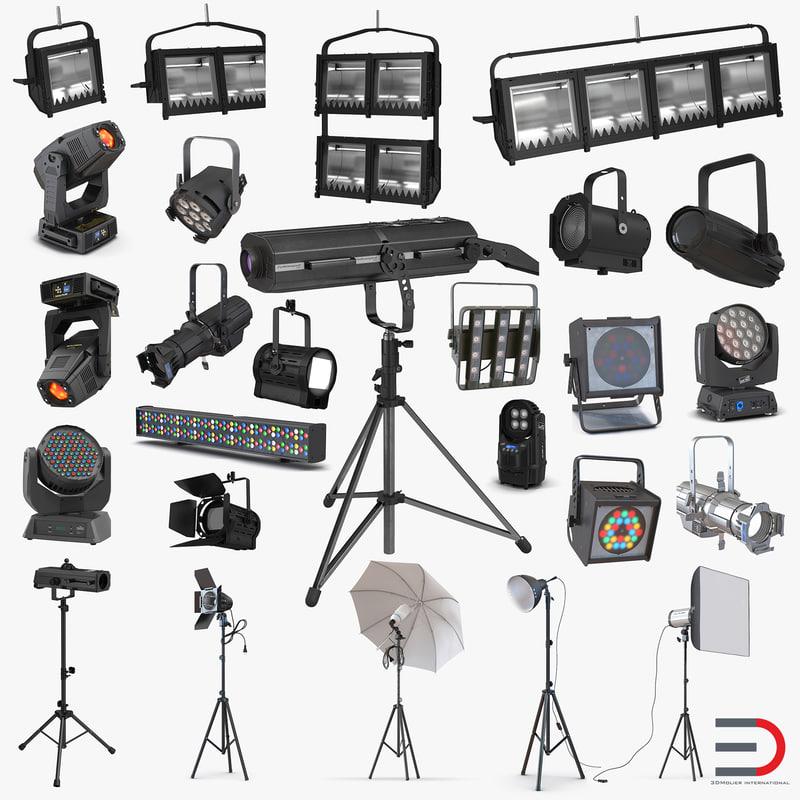 studio stage lighting lamp 3d 3ds