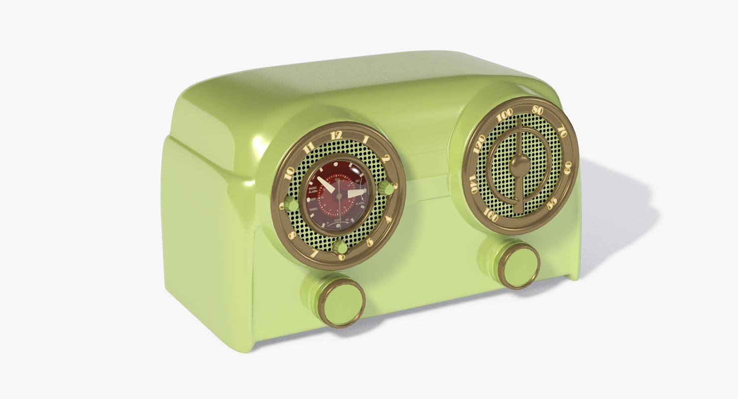 3d radio vintage 1950s model