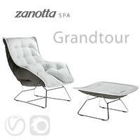 Zanotta Grandtour Armchair with pouf (vray+corona)