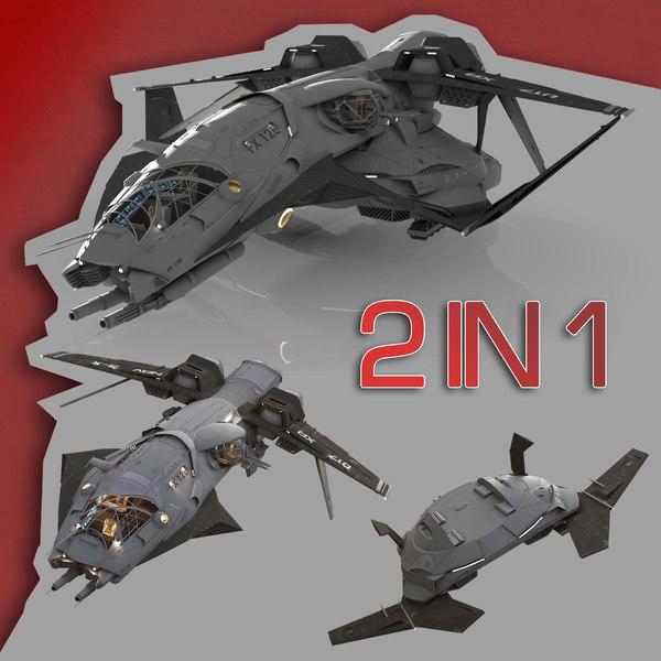 spaceship dropship drop 3d max