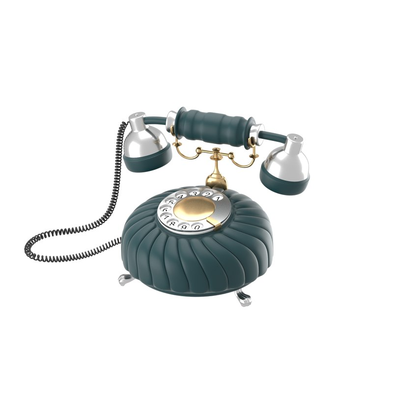obj retro styled phone dark blue