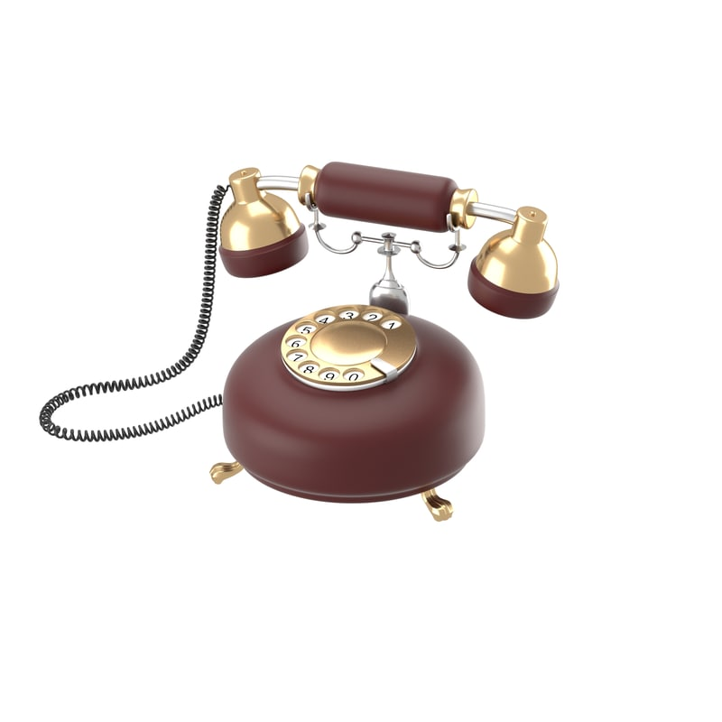 obj retro phone dark red