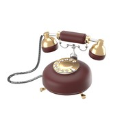 obj retro phone dark red