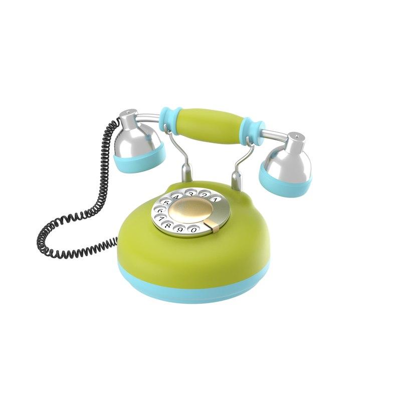 3d corded retro phone bright model