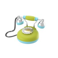 3d corded retro phone bright model